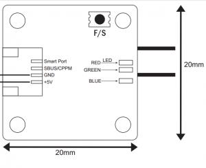 Diagrama y dimensiones Frsky XSR-M